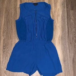 Royal Blue Romper with Lace Accents